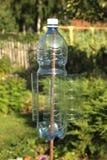 Eine Plastikflaschendrehung durch Wind und machen Erschütterungen im Boden für erschreckende Molen und andere Nagetiere Stockbilder