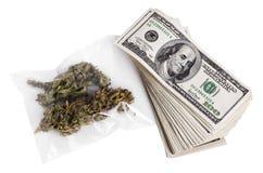 Marihuana u. Bargeld Stockfotos
