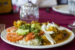 Eine Platte der indischen Lebensmittel-Küche mit Hühnercurry Stockfotografie