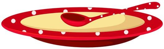 Eine Platte der Suppe mit Löffel Lizenzfreie Stockfotos
