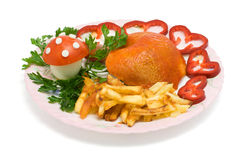 Eine Platte mit Abendessen stockfotos