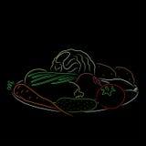 Eine Platte mit Gemüse, Vektorillustration Lizenzfreies Stockfoto