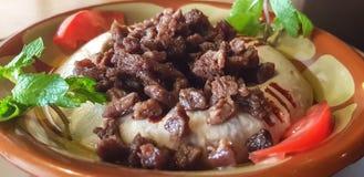 Eine Platte von hummus mit Fleisch und Gemüse - libanesische Nahrung lizenzfreie stockfotografie