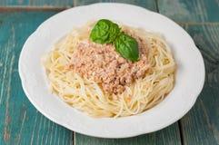 Eine Platte von Spaghettis mit sahniger Tomatensauce Lizenzfreies Stockbild