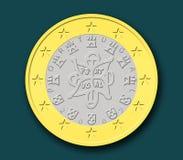 Eine portugiesische Euromünze stockbild