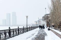 Eine Promenade in Astana Stockbilder