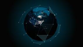 Eine realistische Kugel nachts Drehende Erde mit dem schönen Plexus Technologie, Geschäft, Transport, Kommunikationen vektor abbildung