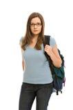 Eine recht junge Frau mit einem kleinen Rucksack lizenzfreie stockfotos