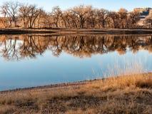 Eine Reflexion von einem See im Herbst stockbild