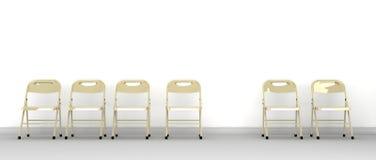 Reihe der Stühle mit einem Vermissten Stockfotografie