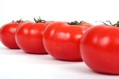 Eine Reihe gebildet auf roter Tomate Lizenzfreies Stockbild