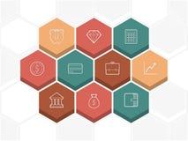 Eine Reihe Hexagone, die Symbole tragen Lizenzfreie Stockfotografie
