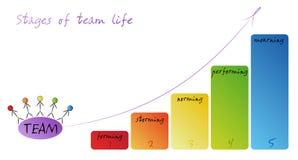 Eine Reihe Stadien das typische Team macht durch Lizenzfreies Stockfoto