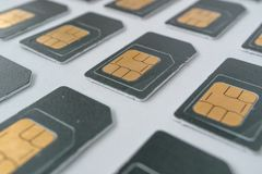 Eine Reihe Telefon SIM-Karten Lizenzfreies Stockfoto