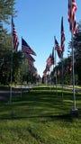 Eine Reihe von amerikanischen Flaggen Stockbilder