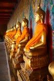 Eine Reihe von SitzBuddhas am Tempel Stockfoto