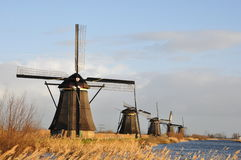 Eine Reihe von Windmühlen Stockbild