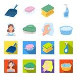 Eine Reinigungsfrau, eine Hausfrau in einem Schutzblech, eine grüne Bürste, eine Hand mit einem Lappen, ein blaues Handwaschbecke Lizenzfreie Stockfotografie