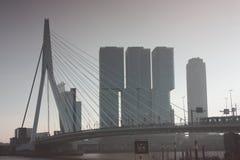 Eine Reise, zum der modernen und futuristischen Architekturstadt von Rotterdam, zwischen Brücken und Wolkenkratzern zu entdecken lizenzfreies stockbild