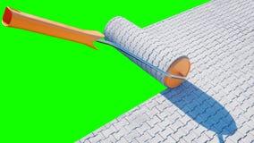 Eine Rolle des Pflastersteins Bürste des Pflastersteins Mein Architekturprojekt des persönlichen Konzeptes Grünes Schirmisolat Wi Stockfotos