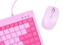 Eine rosige Tastatur und eine Maus lizenzfreies stockfoto