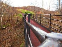 Eine rote Brücke auf Herbstberg stockbild