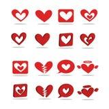 Eine rote Herz-förmige Ikone 2D - 3D Lizenzfreies Stockbild