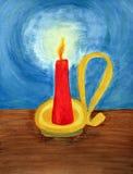 Eine rote Kerzebeleuchtung herauf die Dunkelheit Lizenzfreie Stockfotos
