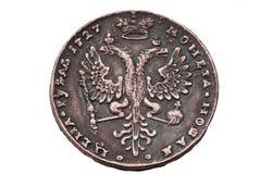 Eine Rubelmünze von 1727 Jahren. Lizenzfreies Stockbild