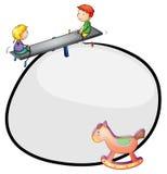 Eine runde Schablone mit einem Spielzeug- und Kinderspielen Lizenzfreie Stockbilder