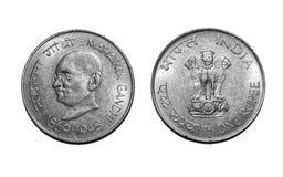 Eine Rupien-Münze Mahatma Gandhi stockfotografie