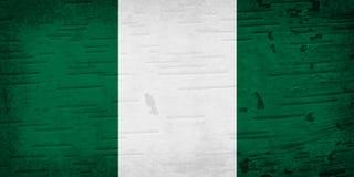 Eine rustikale alte Nigeria-Flagge auf verwittertem Holz lizenzfreie stockfotografie
