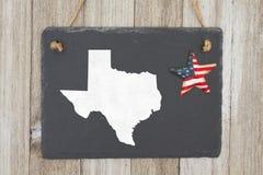 Eine rustikale patriotische Texas-Staatstafel Lizenzfreies Stockfoto
