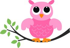 Eine süße rosafarbene Eule Stockbild