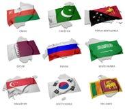Eine Sammlung der Flaggen, die das Entsprechen umfassen, formt von einigen asiatischen Zuständen Lizenzfreie Stockfotografie