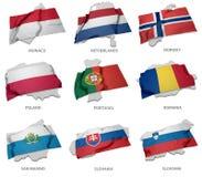 Eine Sammlung der Flaggen, die das Entsprechen umfassen, formt von einigen europäischen Zuständen Stockfotografie