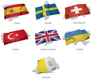 Eine Sammlung der Flaggen, die das Entsprechen umfassen, formt von einigen europäischen Zuständen Stockfoto
