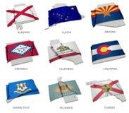 Eine Sammlung der Flaggen, die das Entsprechen umfassen, formt von einigen Vereinigten Staaten Stockfotos