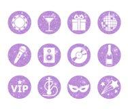 Eine Sammlung funkelndes violettes Funkeln stilisierte fantastische Nachtclub- und Parteikreisikonen Musik, Ton, Getränk, Huka, D Stockbild