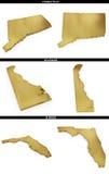Eine Sammlung goldene Formen von den amerikanischen Staaten Connecticut, Delaware, Floridaerican US gibt Connec an Stockbild