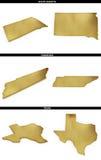 Eine Sammlung goldene Formen von den amerikanischen Staaten South Dakota, Tennessee, Texas US Lizenzfreies Stockfoto