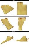 Eine Sammlung goldene Formen von den amerikanischen Staaten Utah, Vermont, Virginia US Lizenzfreies Stockbild