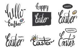Eine Sammlung Logos und Embleme hallo Ostern- und Ostern-Beschriftung, moderne Kalligraphie Handgeschriebene Ostern-Phrase Logos  Lizenzfreie Stockfotos