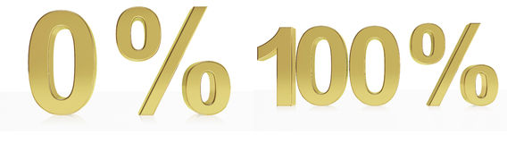 Eine Sammlung photorealistic goldene Symbole für 0 u. 100% Rabatt oder den Gewinn Lizenzfreie Stockfotos