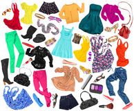 Eine Sammlung vieler verschiedenen Arten von Kleidung Stockfotos