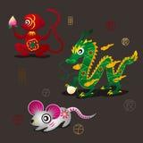 Chinesische Tierkreis-Maskottchen: Affe, Drache und Ratte Lizenzfreies Stockbild