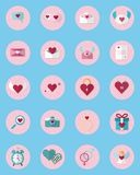 Eine Satz 20 Ikonen-Valentinsgruß ` s Tagesikone benutzt in den Medien Sammlung von Valentine Icons Stockbilder
