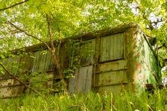 Eine schäbige Hütte auf einem Hügel in den Bäumen stockfotografie