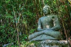 Eine schöne alte Statue von Buddha sitzt umgeben durch Bambus- und tropisches Grün Stockfoto
