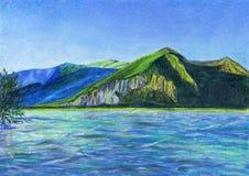 Eine schöne Berglandschaft mit einem klaren Himmel und einem Fluss